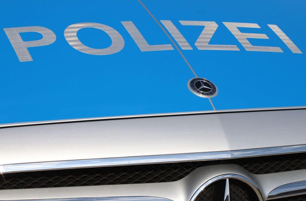 Polizei kontrolliert einen jungen Mann in Fellbach. Foto:
