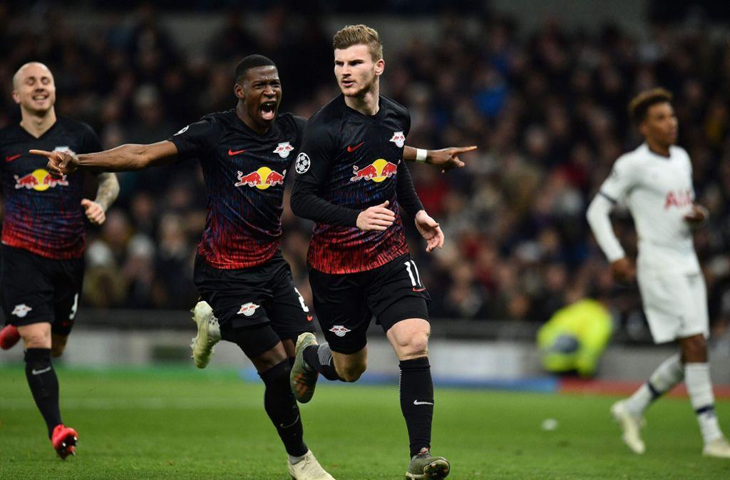 Timo Werner brachte die Leipziger im Achtelfinal-Hinspiel gegen Tottenham Hotspur zum Jubeln. Foto: AFP/GLYN KIRK