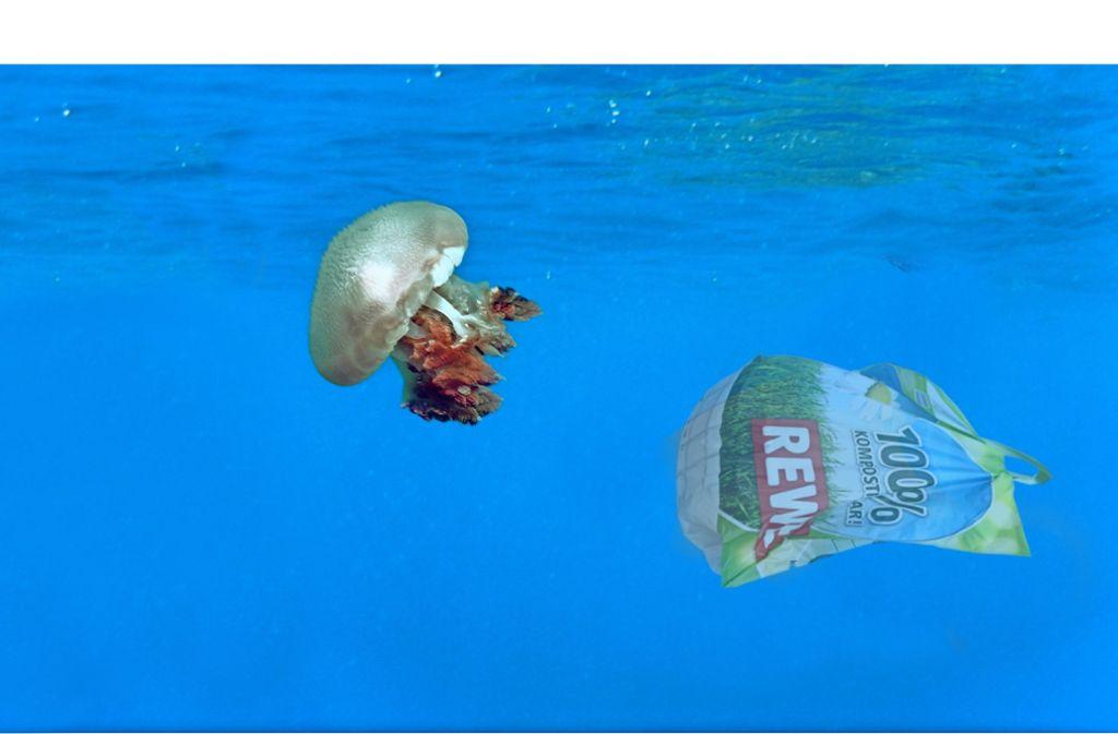 Das Aus für die  Biotragetüte  ist längst besiegelt, obwohl sie biologisch abbaubar ist. Foto: dpa, Mauritius Montage:Detsch
