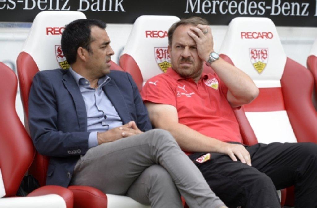 Sportvorstand Robin Dutt (links) und Trainer Alexander Zorniger haben am Samstag ein gutes Spiel des VfB Stuttgart gegen Manchester City gesehen. Dennoch fallen die Reaktionen auf den 4:2-Sieg verhalten aus. Foto: dpa