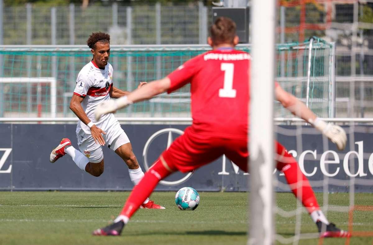 Manuel Polster gelang in Mainz der wichtige Ausgleichstreffer für den VfB II vor der Pause. Foto: Baumann/Volker Müller