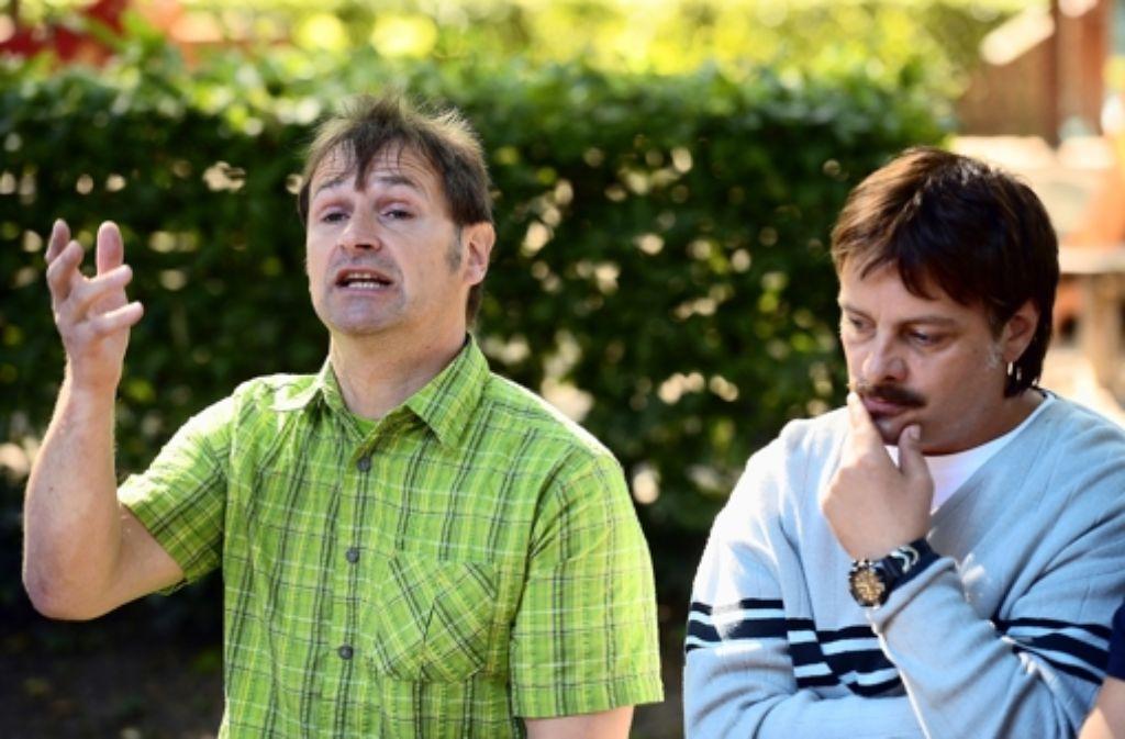 Harry Wörz (links) trifft Rüdiger Klink, der ihn in dem Film verkörpert. Foto: dpa
