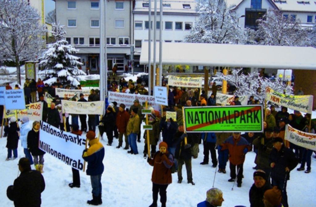 Gegner des Nationalparks pfiffen am Mittwoch in Freudenstadt auf die Pläne der Landesregierung. Foto: StZ