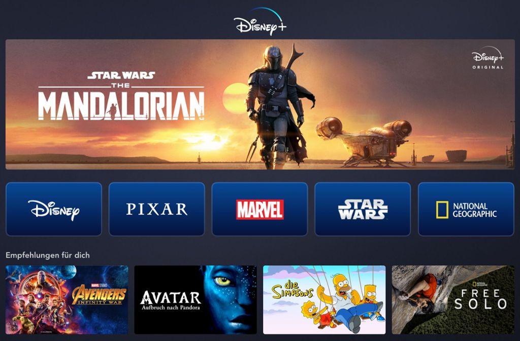 So sieht die Startseite von Disney+ auf dem Tablet aus. Foto: Disney+