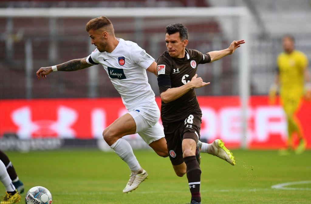 Heidenheim kam auf St. Pauli nicht über ein 0:0 hinaus. Foto: dpa/Stuart Franklin