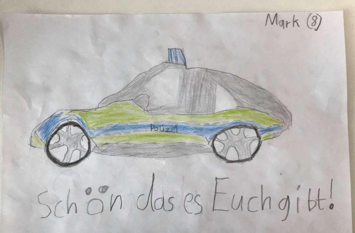 Mit diesem Bild machte der achtjährige Mark den Polizisten eine Freude. Foto: Polizeipräsidium Ludwigsburg