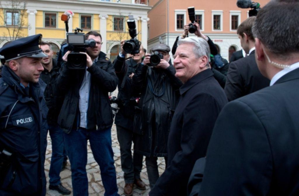 Bundespräsident Joachim Gauck bei seinem Besuch in Bautzen. Foto: dpa