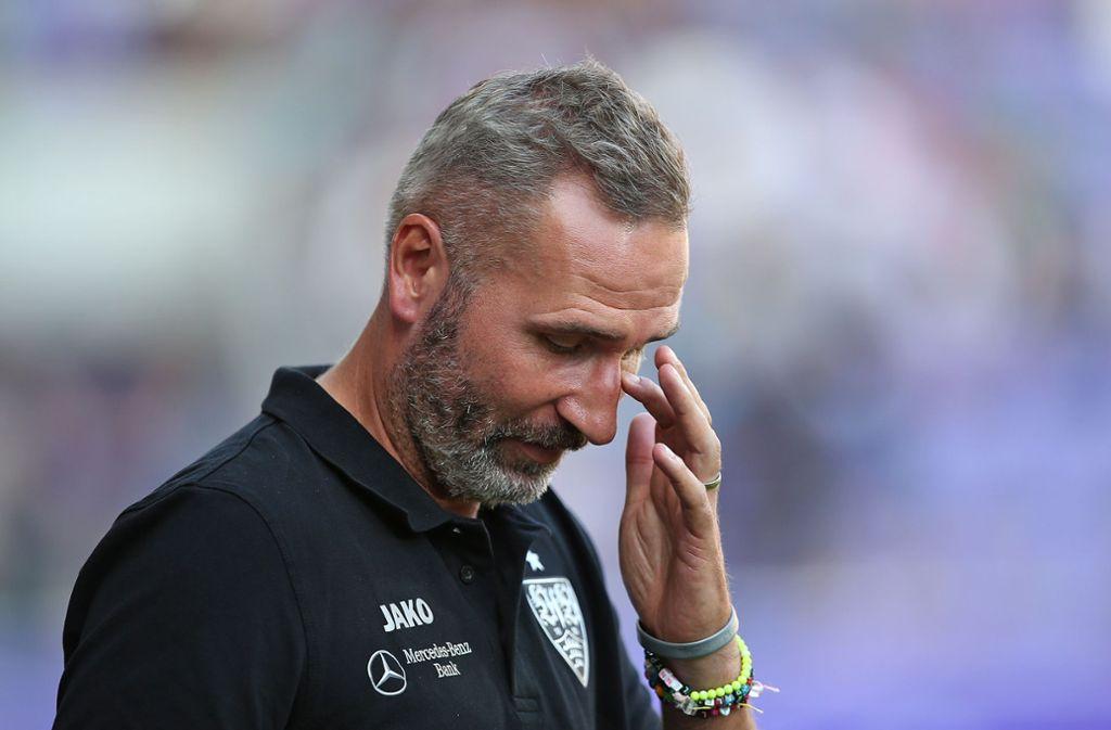 VfB-Trainer Tim Walter war nach der Partie kaum zu beruhigen. Foto: Pressefoto Baumann