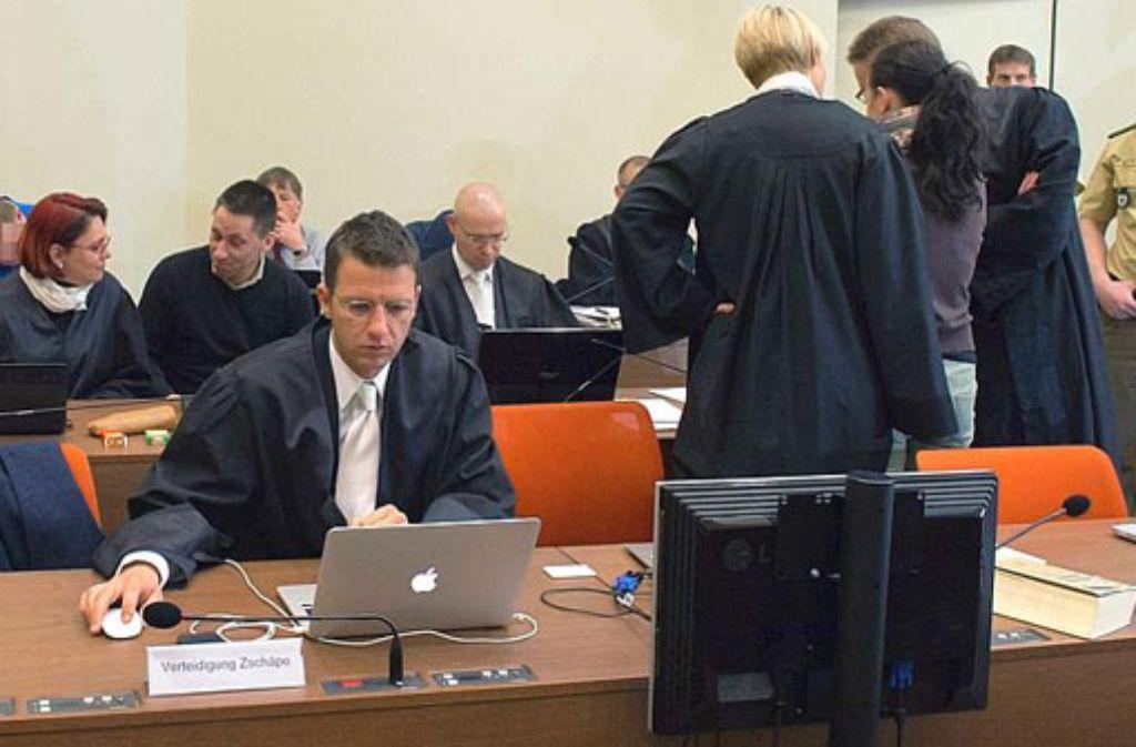 Die Angeklagte Beate Zschäpe im Gerichtssaal in München. Foto: dpa