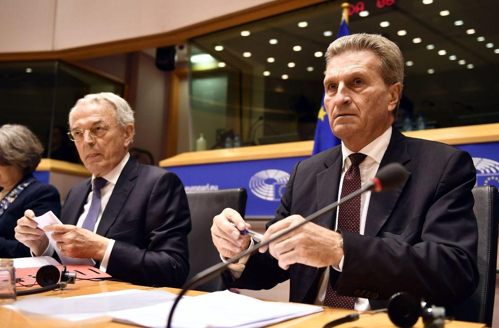 Günther Oettinger steht dem EU-Parlament Rede und Antwort. Foto: dpa