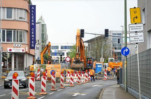 Baustelle: Ortsmitte von Asperg ist blockiert