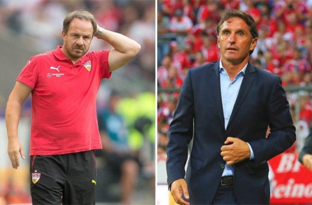 VfB-Trainer Alexander Zorniger (links) und HSV-Coach Bruno Labbadia. Foto: dpa/Getty Images/DU-Montage