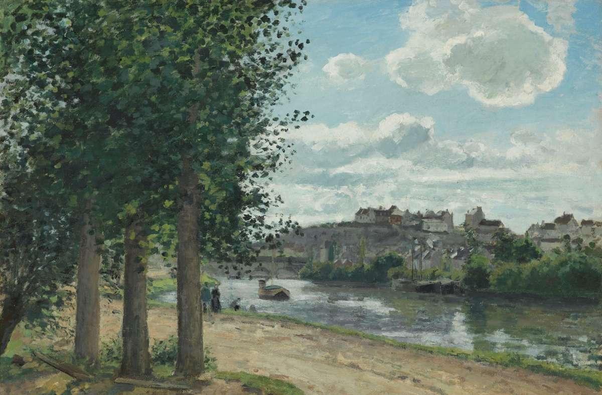 """Camille Pissarros """"Ufer der Oise"""" ist in der Staatsgalerie Stuttgart noch zu sehen. Foto: Staatsgalerie"""