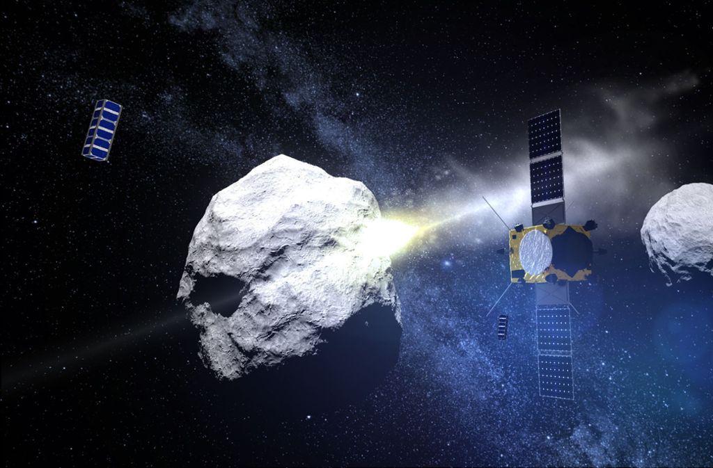 """Die Computersimulation  zeigt den Einschlag eines Projektils namens Dart (Double Asteroid Redirection Test) auf einen Asteroiden. Im Rahmen des Asteroid Impact & Deflection Assessment (Aida – englisch für """"Asteroiden Einschlag & Ablenkungs Bewertung"""") prüfen die Nasa und Esa gemeinsam,  ob die Bahn eines Asteroiden durch den Einschlag einer Raumsonde geändert werden kann. Foto: Esa/AFP"""