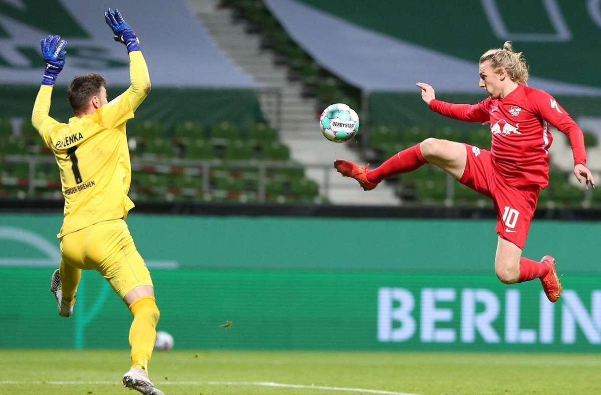 Emil Forsberg schoss die Leipziger ins Finale des DFB-Pokals. Foto: AFP/CATHRIN MUELLER