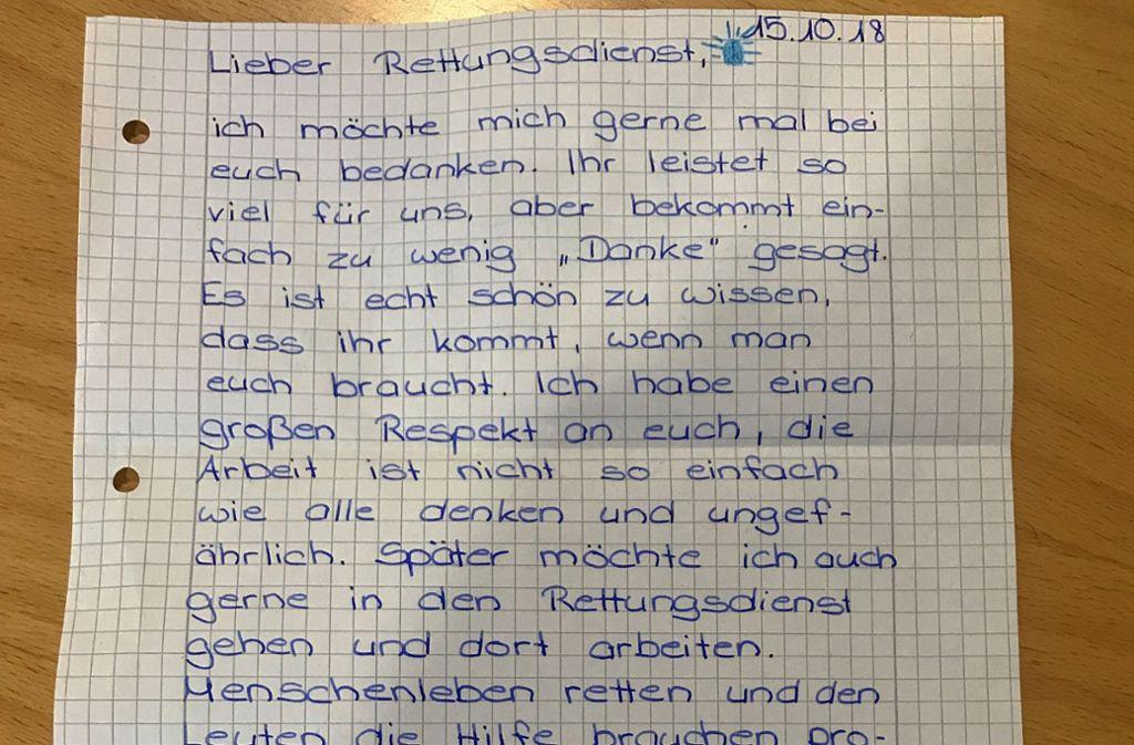 Der Dankesbrief an die Malteser in Stuttgart. Foto: Malteser Stuttgart