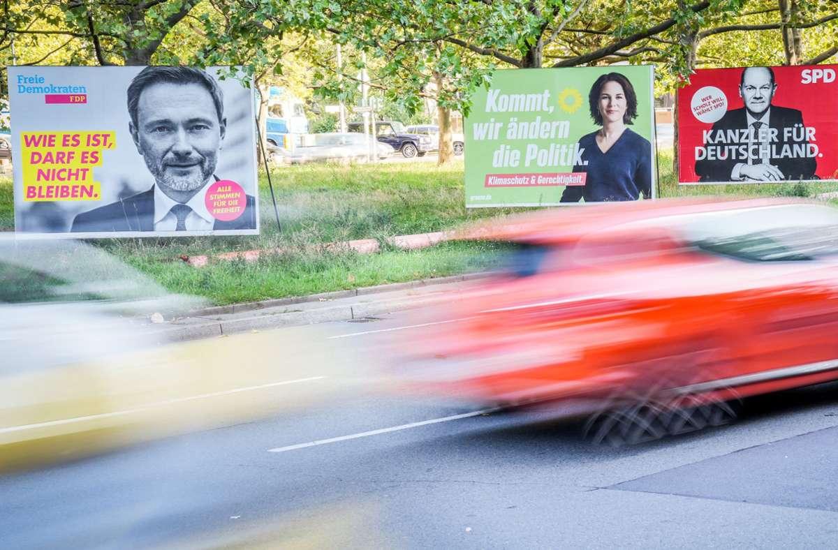 Lindner, Baerbock, Scholz – FDP, Grüne und SPD sind die Gewinner der Bundestagswahl. Wo haben sie besonders stark zugelegt? Foto: dpa/Kay Nietfeld