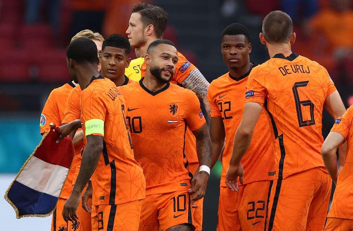 """Große Freude bei """"Oranje"""" – die Niederlande steht im Achtelfinale. Foto: AFP/DEAN MOUHTAROPOULOS"""