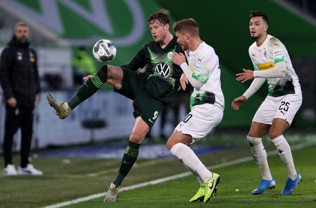 Borussia Mönchengladbach verlor unglücklich beim VfL Wolfsburg. Foto: dpa/Ronny Hartmann