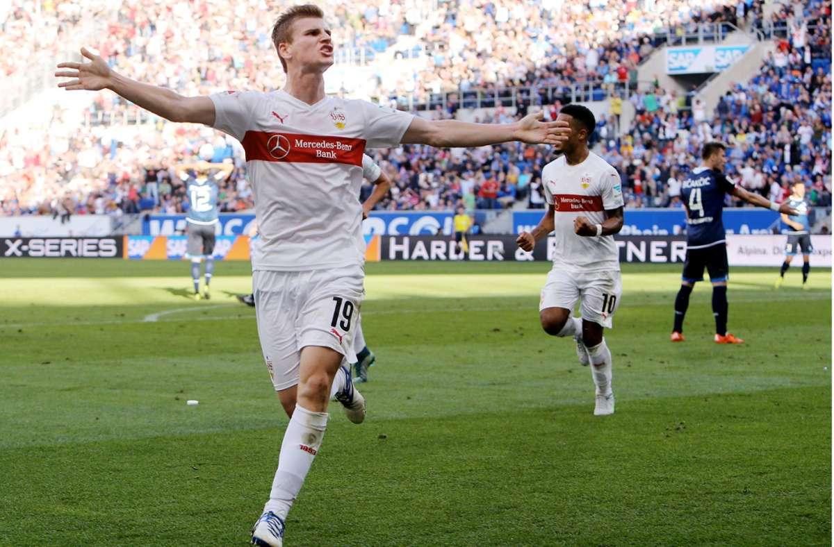 Timo Werner, damals noch im Trikot des VfB Stuttgart, ist auch unter Hansi Flick Teil des DFB-Kaders. Foto: Baumann