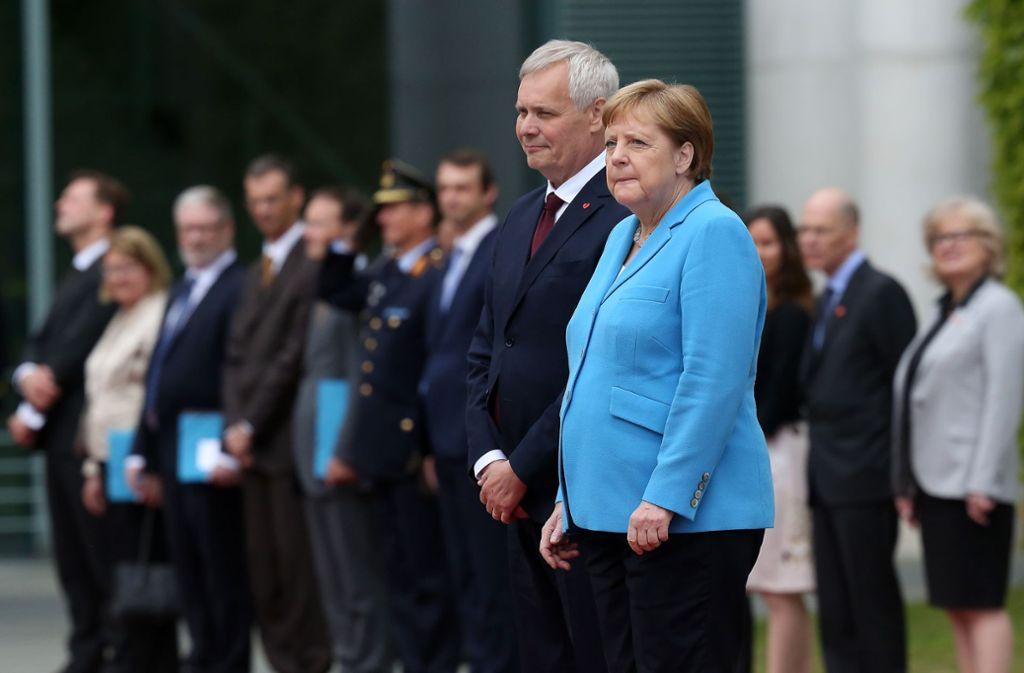 Angela Merkel hatte beim Empfang des finnischen Ministerpräsidenten Antti Rinne erneut einen Zitteranfall. Foto: Getty Images