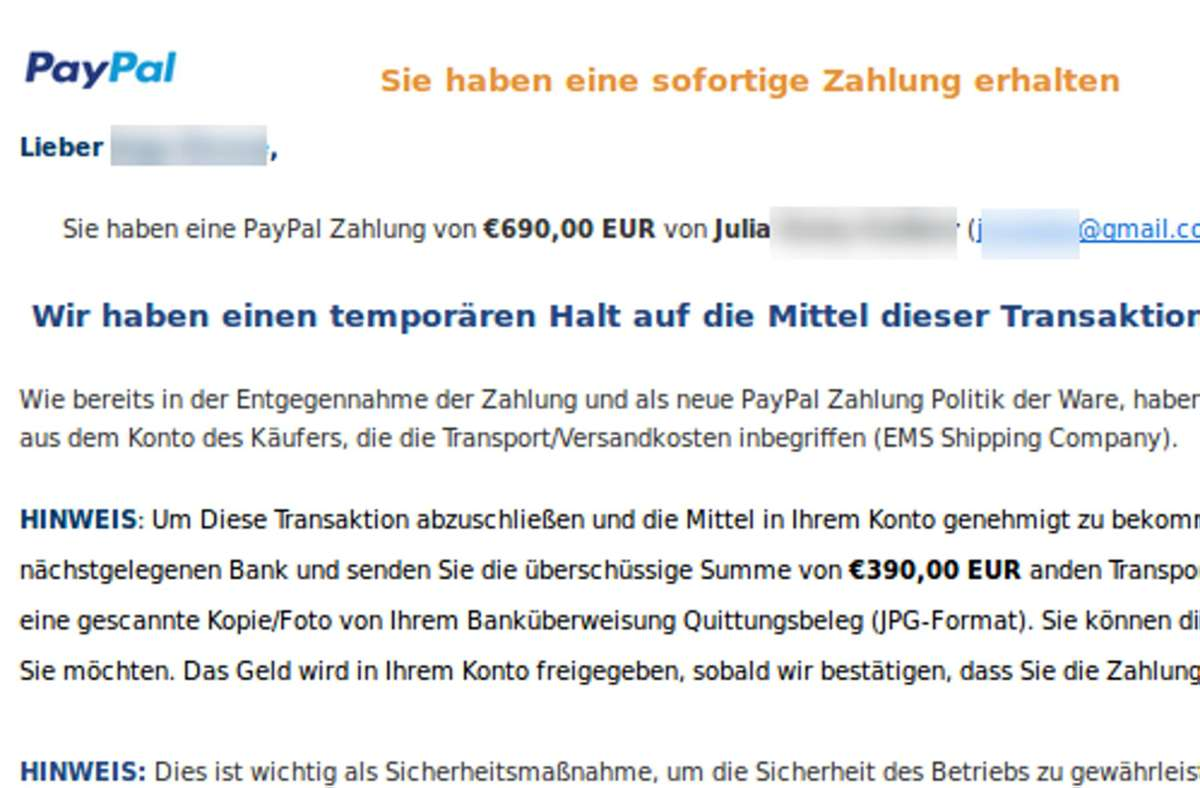 Mit gefälschten Paypal-Benachrichtigungen täuschen Betrüger ihre Opfer bei Kleinanzeigen. Foto: LKA Niedersachsen