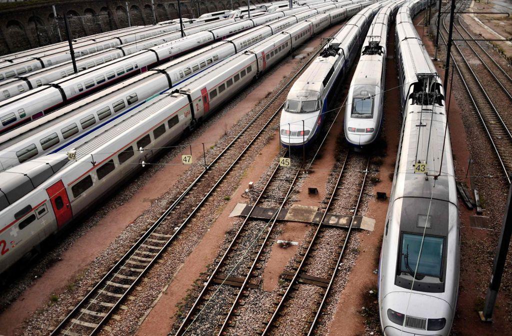Viele TGV fahren nicht. Foto: AFP