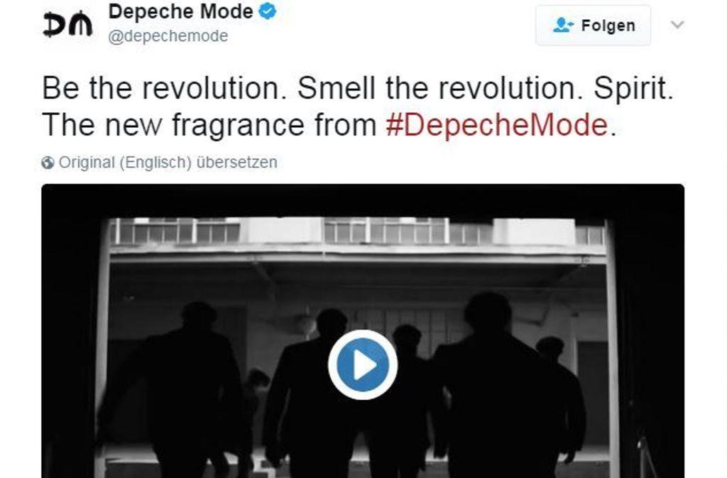 Auf Twitter und Instagram wirbt Depeche Mode für ein Parfum, das vom neuen Album Spirit inspiriert sein soll. Foto: Twitter/@depechemode