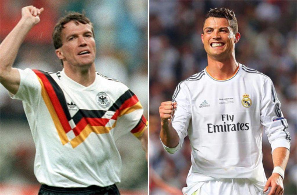 Der Weltfußballer des Jahres 2014 - Cristiano Ronaldo (rechts) - ist am 12. Januar 2015 in Zürich bekanntgegeben worden. Wir zeigen alle Sieger der Fifa-Wahlen seit 1991 Lothar Matthäus (links) den Titel holen konnte - klicken Sie sich durch unsere Bildergalerie. Foto: dpa/SIR-Montage