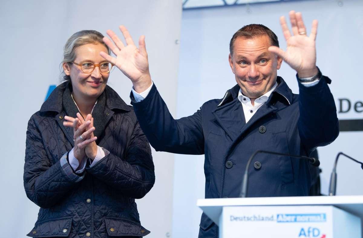 Spitzenkandidatenduo Alice Weidel und Tino Chrupalla Foto: dpa/Sebastian Kahnert