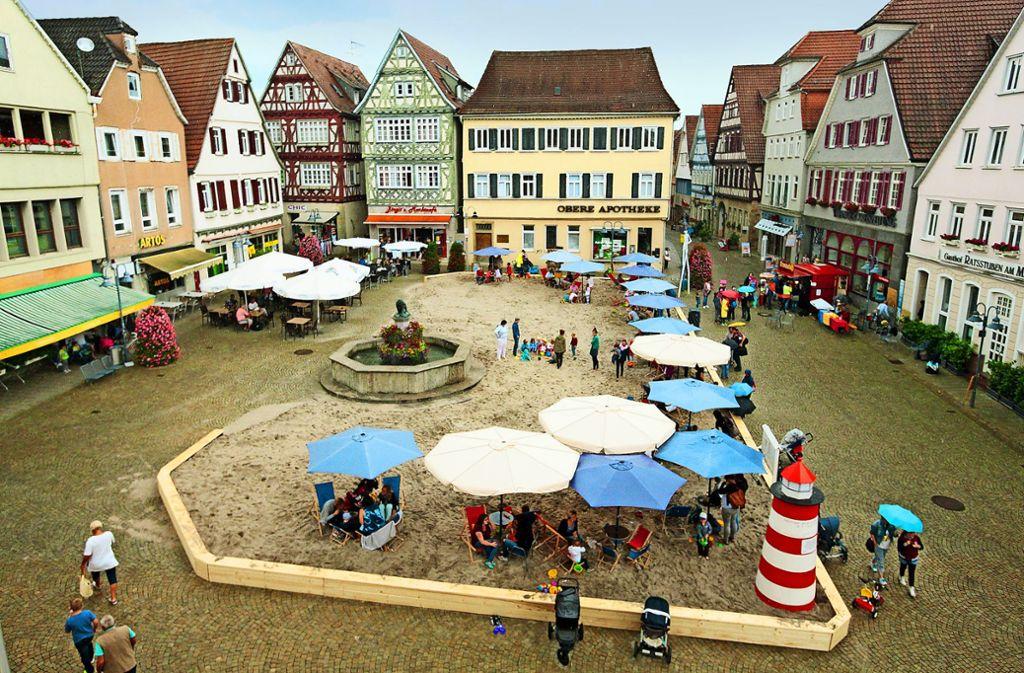 """Vorbild für Weil der Stadt: Das """"Vaihinger Strandleben"""", hier eine Aufnahme aus dem Jahr 2016. Foto: factum/Granville"""