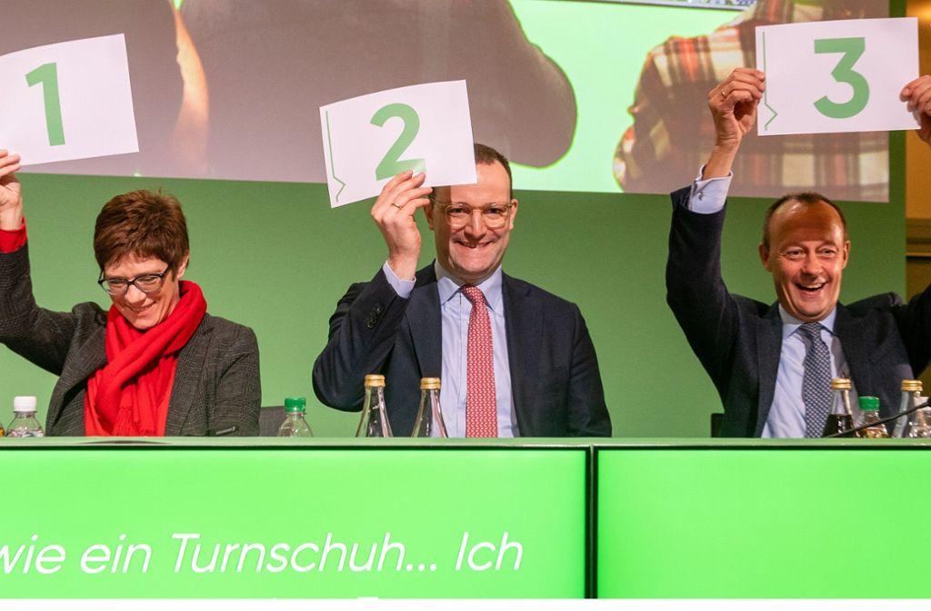 Wer wird die bisherige CDU-Parteivorsitzende Angela Merkel beerben: Annegret Kramp-Karrenbauer, Jens Spahn (Mitte) oder Friedrich Merz? Foto: Getty Images