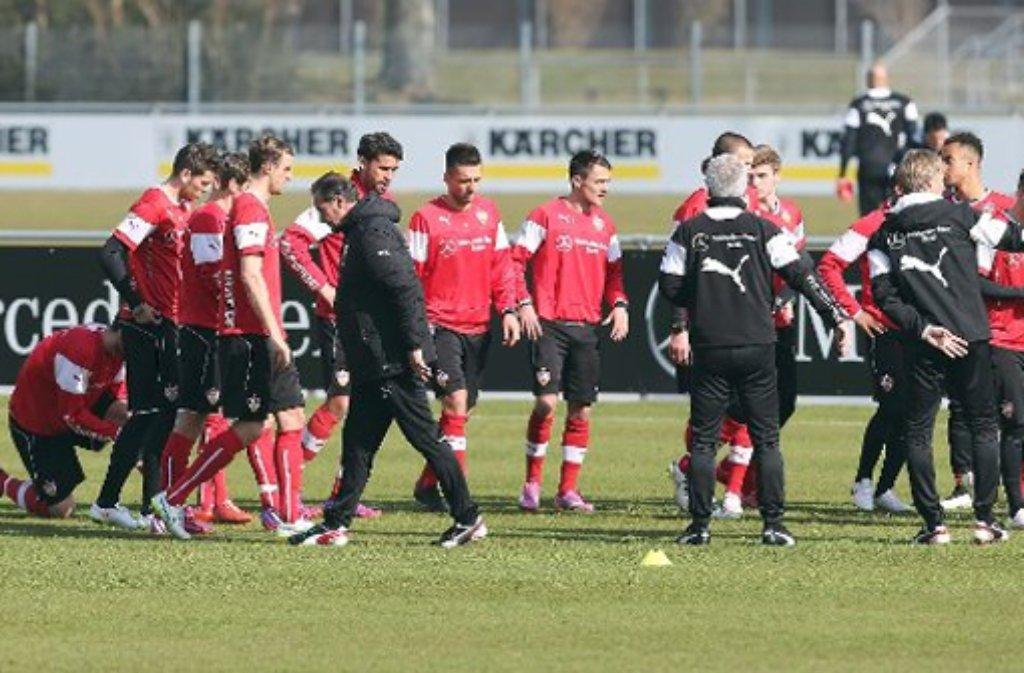 Beim Dienstagsvormittags-Training hat VfB-Trainer Huub Stevens gleich sechs Torhüter aufs Feld geschickt. Foto: Pressefoto Baumann