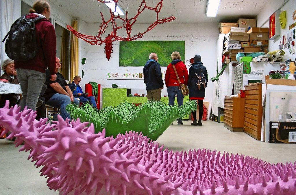 Susanna Messerschmidt ist  für ihre taktilen Objekte mit Tentakeln und Fühlern bekannt. Sie hat aber auch  zweidimensionale Arbeiten präsentiert. Foto: Susanne Müller-Baji