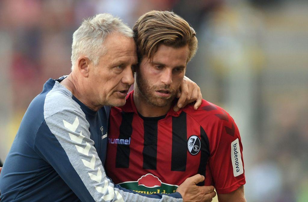Der SC Freiburg erreichte gegen Augsburg ein 1:1. Foto: dpa/Patrick Seeger
