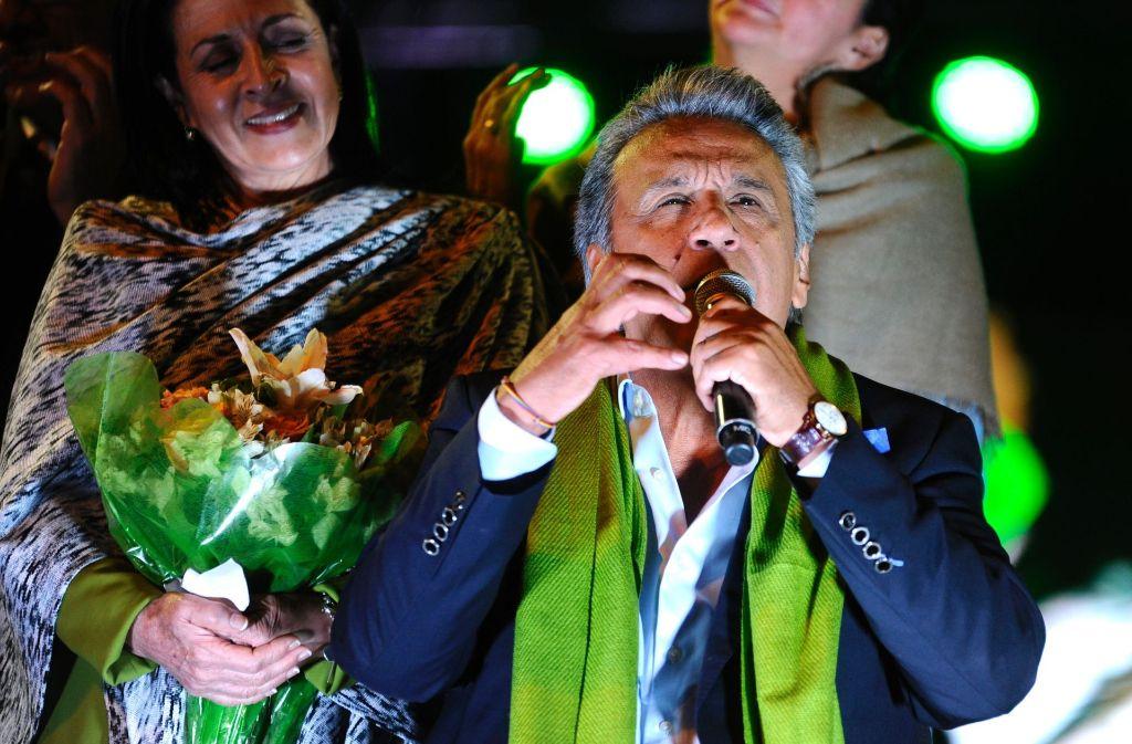 Sieht sich als Sieger der Stichwahlin Ecuador: Lenín Morena Foto: AFP