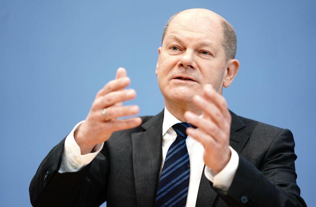 Für Finanzminister Olaf Scholz (SPD) steht hinter der Haushaltsplanung ein großes Fragezeichen angesichts der Coronavirus-Krise. Foto: dpa/Kay Nietfeld