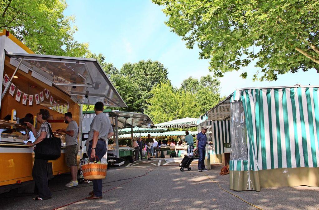 Samstags kommen viele Stammkunden auf den Wochenmarkt, der seit Monaten interimsweise an der Regerstraße stattfindet. Ab Sommer 2017 soll er wieder ins Zentrum rücken. Foto: Torsten Ströbele Foto: