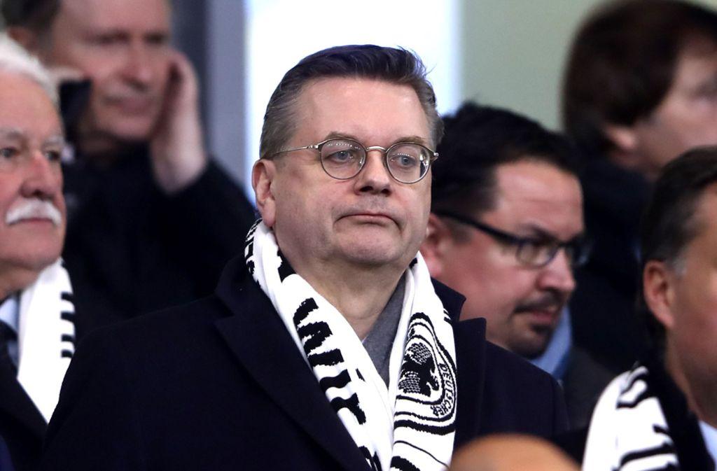 DFB-Präsident Reinhard Grindel sieht sich scharfer Kritik seiner Kollegen ausgesetzt. Foto: Bongarts