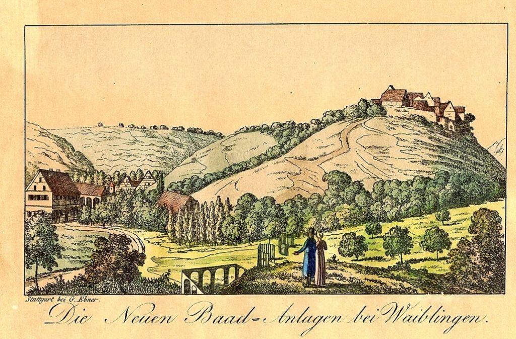 """Eine Lithografie aus der Zeit um 1820 zeigt die neuen  """"Baad-Anlagen"""" und den Park. Foto: Stadtarchiv Waiblingen"""