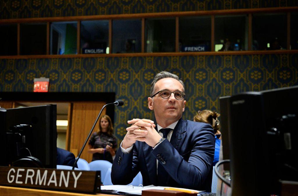 Außenminister Heiko Maas beim Treffen des Sicherheitsrats der Vereinten Nationen in New York. Foto: AFP