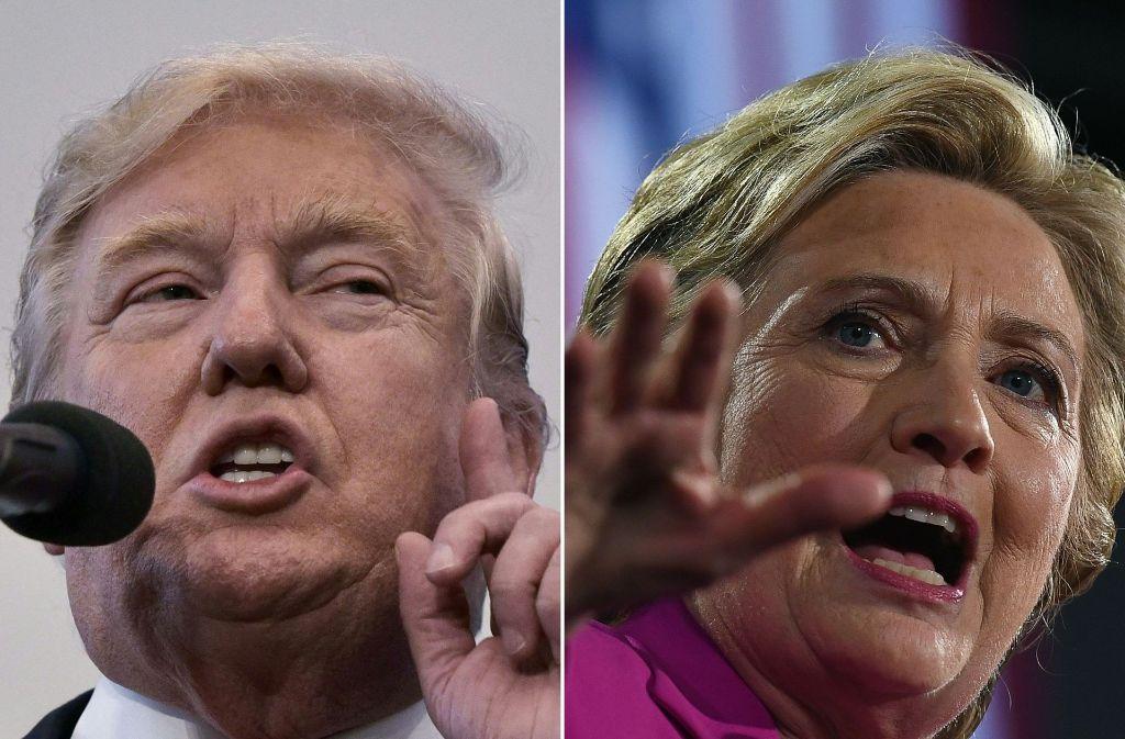 Es wird eng zwischen Hilary Clinton und Donald Trump. Foto: AFP