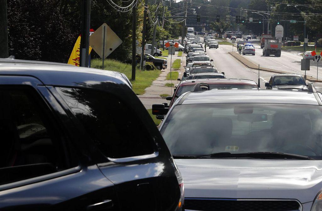 """Massenflucht vor """"Florence"""": Auf den Straßen im Südosten der USA bilden sich lange Staus. Foto: The Daily Press"""