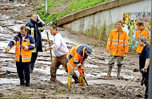 Auch in Schwäbisch Gmünd sind die Aufräumarbeiten in vollem Gange. Foto: dpa