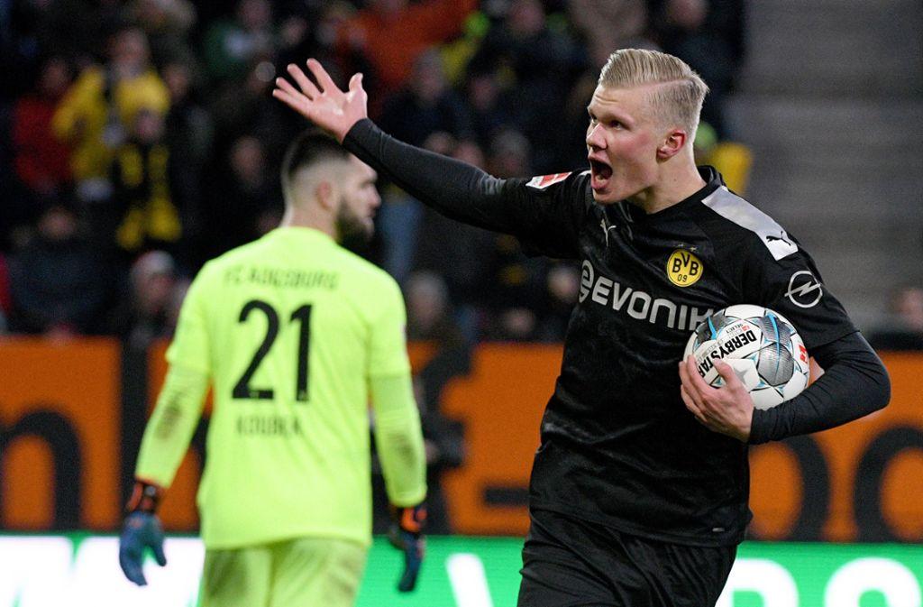 Erling Haaland traf bei seinem Bundesliga-Debüt dreimal. Foto: dpa/Stefan Puchner