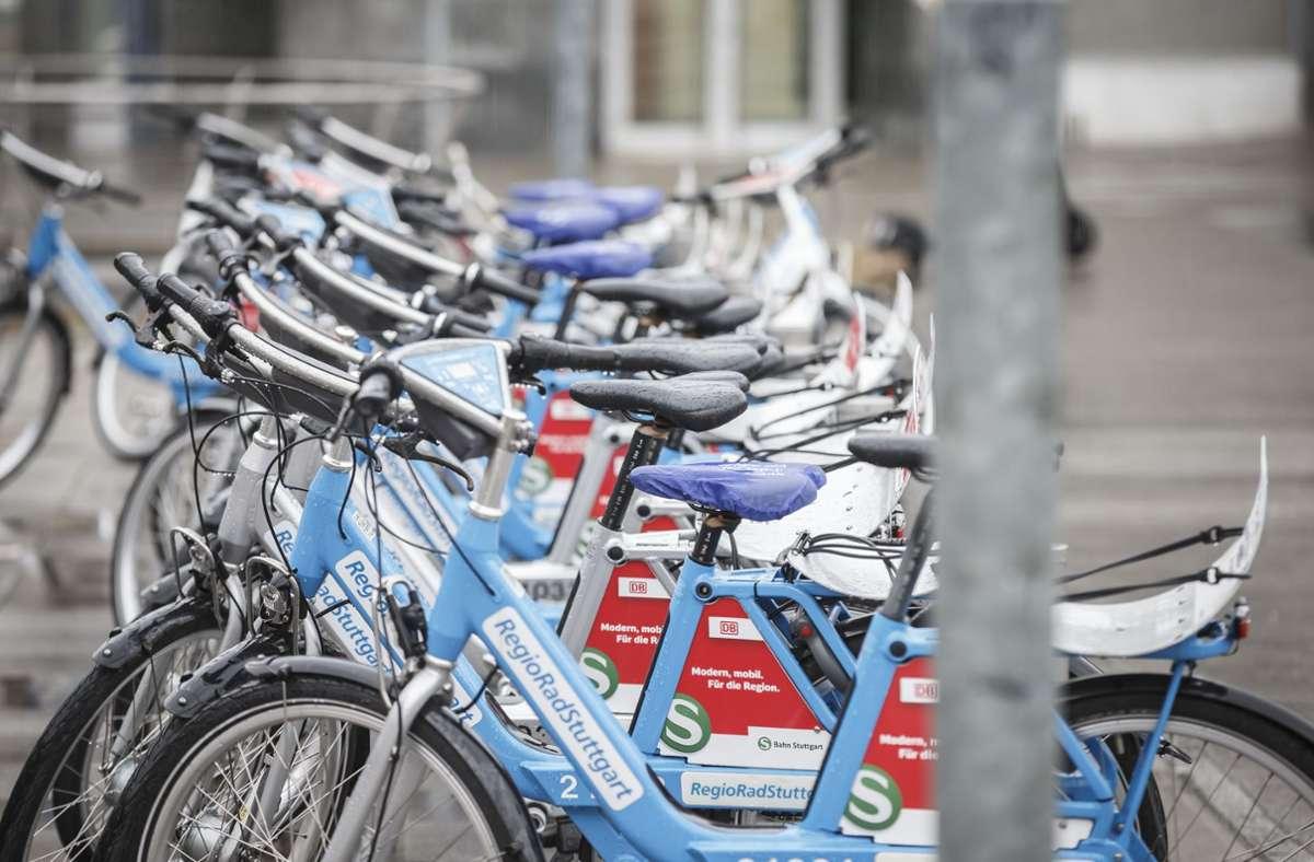 Verleihstation von Regiorad auf dem Marienplatz in Stuttgart Foto: Lichtgut/Julian Rettig