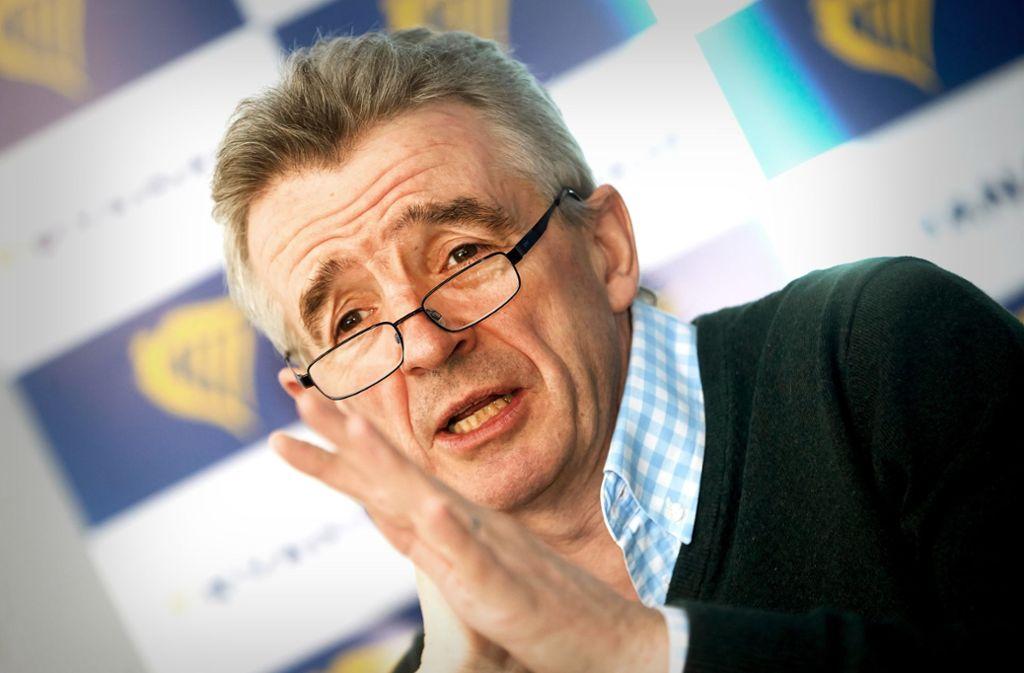 "Michael O'Leary wirft Verkehrsminister Winfried Hermann vor, dieser sei ""nicht gut gebrieft"". Foto: dpa/Thomas Frey"