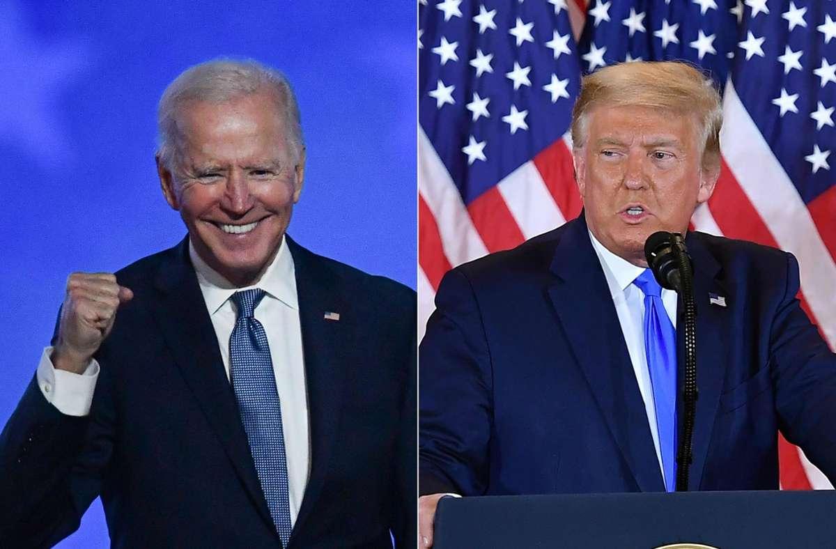 Die absolute Mehrheit bei den einzelnen Stimmen bringt Joe Biden (links) nicht viel. Foto: AFP/ANGELA WEISS