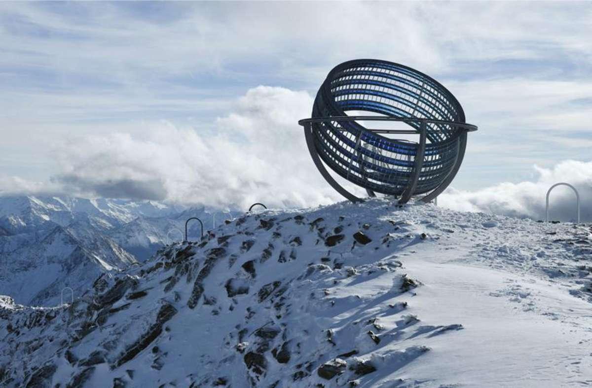 Das neue Kunstwerk von Olafur Eliasson befindet sich auf 3012 Meter Höhe über der hochalpinen Grawand-Grat.  800000 Euro hat das  Projekt gekostet,  finanziert durch Spenden. Foto: Oskar DaRiz