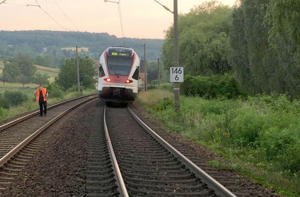 Unfall auf den Gleisen: Regionalbahn fährt gegen einen Baumstamm Foto: Bundespolizeiinspektion Konstanz